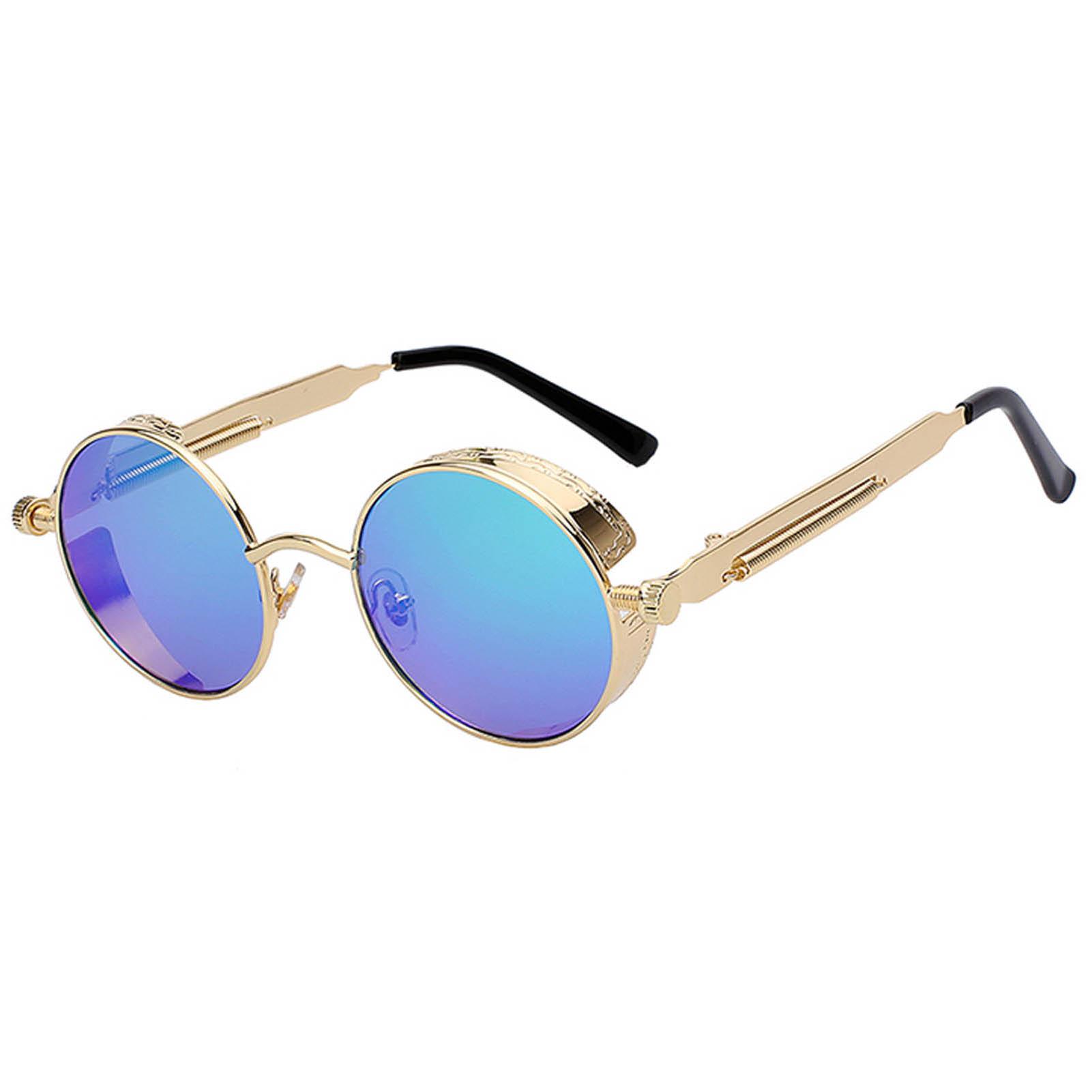 OWL ® Steampunk Gothic Eyewear Sunglasses Women's Men's Metal Round Circle Gold Frame Pink Mirror Lens One Pair