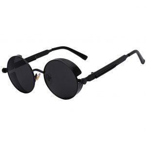 OWL ® Steampunk C7 Gothic Eyewear Sunglasses Women's Men's Metal Round Circle Matte Frame Black Lens One Pair