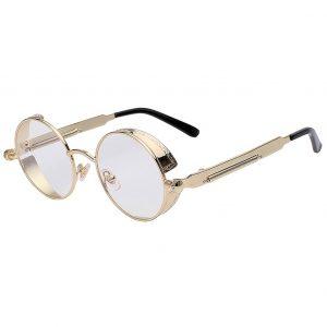 OWL ® Steampunk C8 Gothic Eyewear Sunglasses Women's Men's Metal Round Circle Gold Frame Clear Lens One Pair