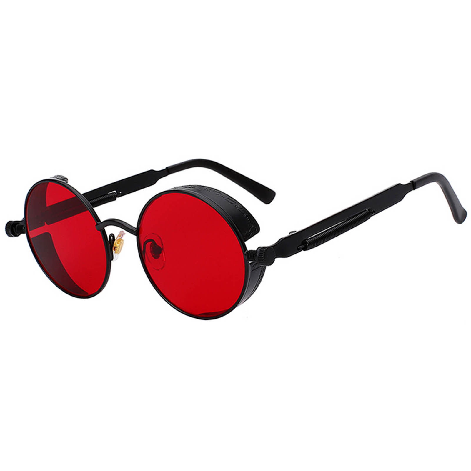 Red And Black Sunglasses  060 c9 steampunk gothic sunglasses metal round circle black frame