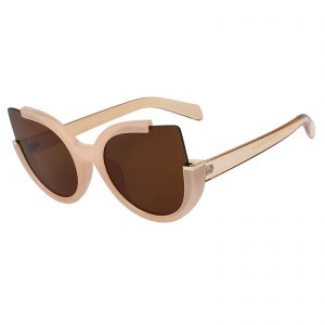 OWL ® 001 C3 Round Eyewear Sunglasses Women's Men's Plastic Round Circle Nude Frame Brown Lens One Pair