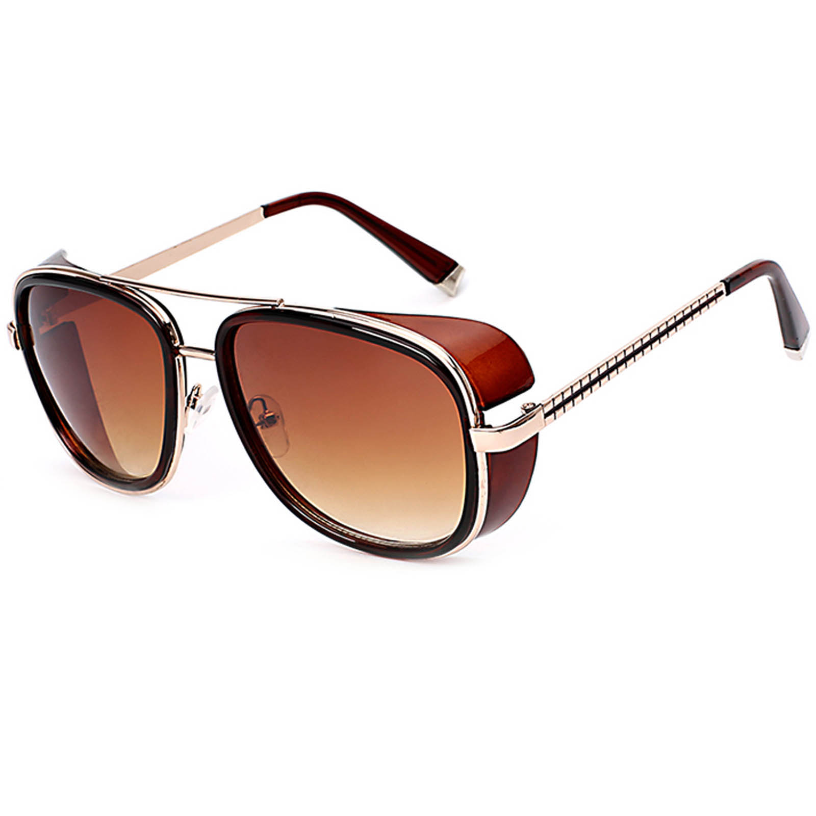 OWL ® 002 C3 Aviator Eyewear Sunglasses Women's Men's Metal Brown Frame Brown Lens One Pair