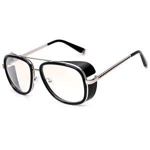 OWL ® 002 C5 Aviator Eyewear Sunglasses Women's Men's Metal Black Frame Clear Lens One Pair