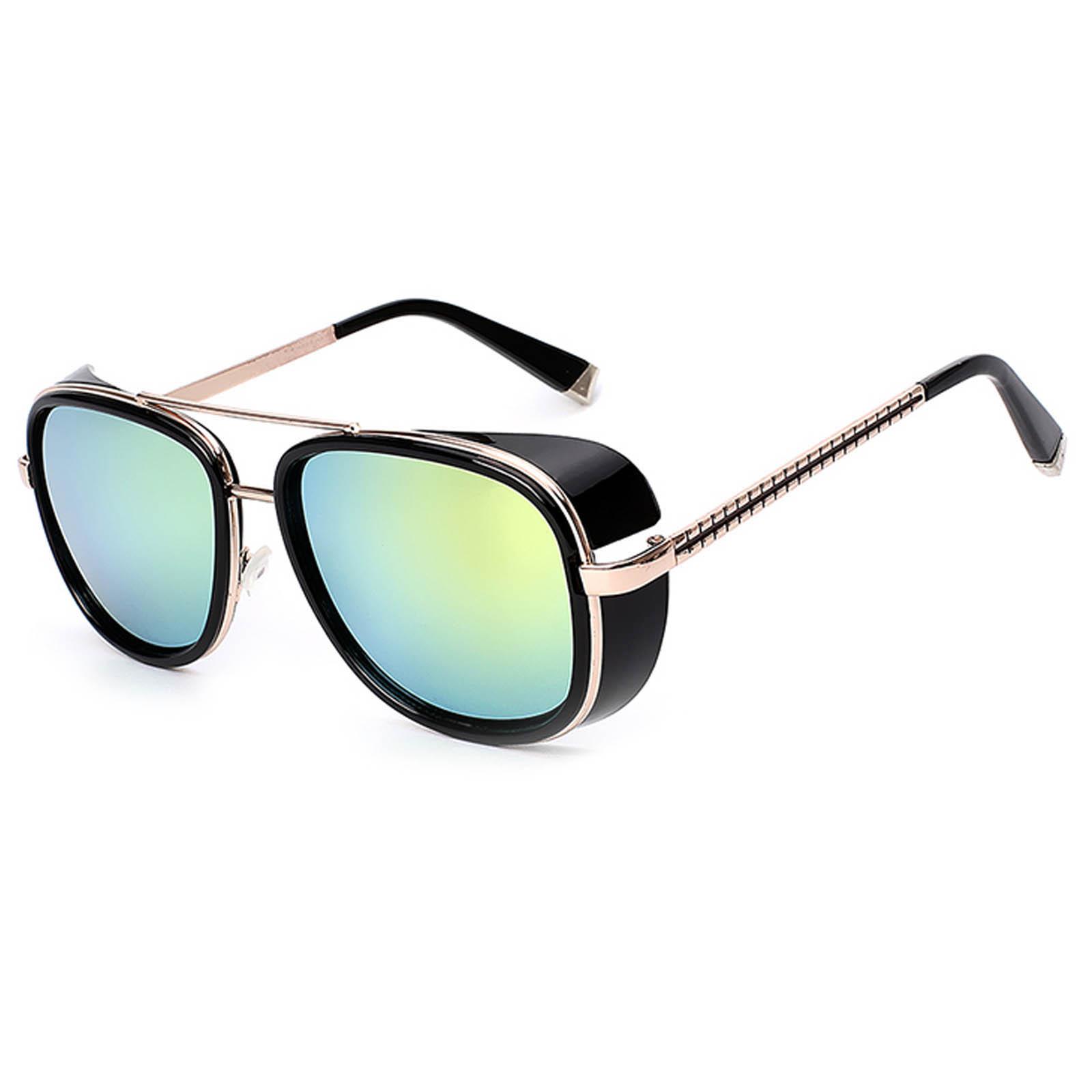 OWL ® 002 C7 Aviator Eyewear Sunglasses Women's Men's Metal Gold Frame Gold Lens One Pair