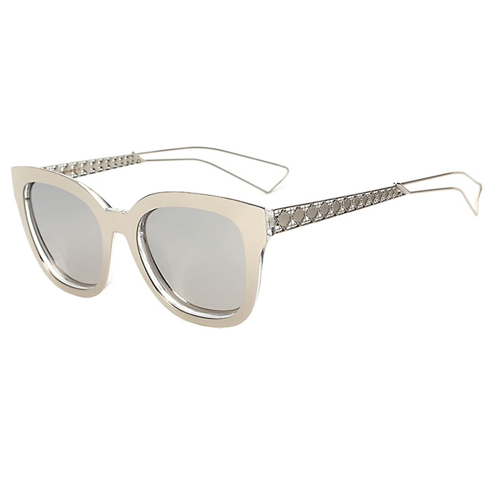 OWL ® 005 C6 Cat Rectangle Eyewear Sunglasses Women's Men's Metal Silver Frame Silver Lens One Pair