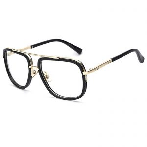 OWL ® 011 C6 Aviator Eyewear Sunglasses Women's Men's Metal Black Frame Clear Lens One Pair