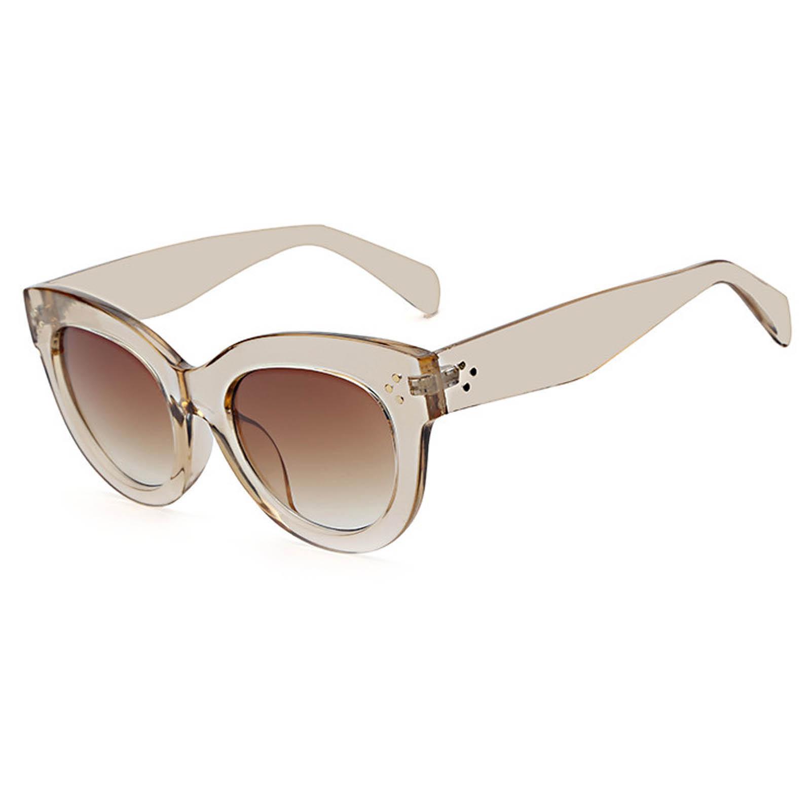 OWL ® 012 C5 Cat Eyewear Sunglasses Women's Men's Plastic Champigne Frame Brown Lens One Pair