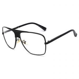 OWL ® 013 C4 Square Eyewear Sunglasses Women's Men's Metal Black Frame Clear Lens One Pair