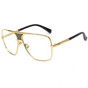 OWL ® 013 C5 Square Eyewear Sunglasses Women's Men's Metal Black Frame Clear Lens One Pair