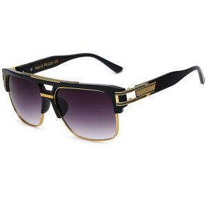 OWL ® 020 C6 Rectangle Eyewear Sunglasses Women's Men's Plastic Black Frame Smoke Lens One Pair