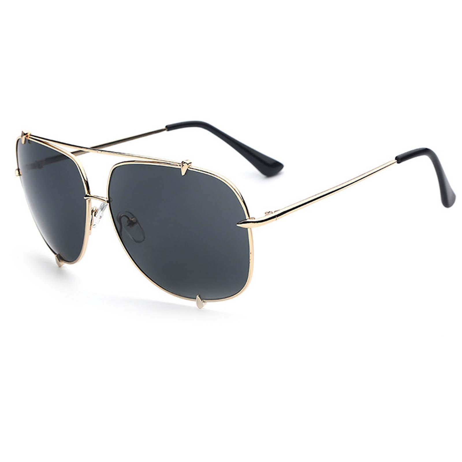 OWL ® 022 C5 Square Eyewear Sunglasses Women's Men's Metal Gold Frame Green Lens One Pair