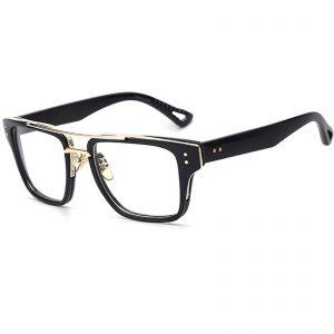 OWL ® 026 C5 Rectangle Eyewear Sunglasses Women's Men's Plastic Black Frame Clear Lens One Pair
