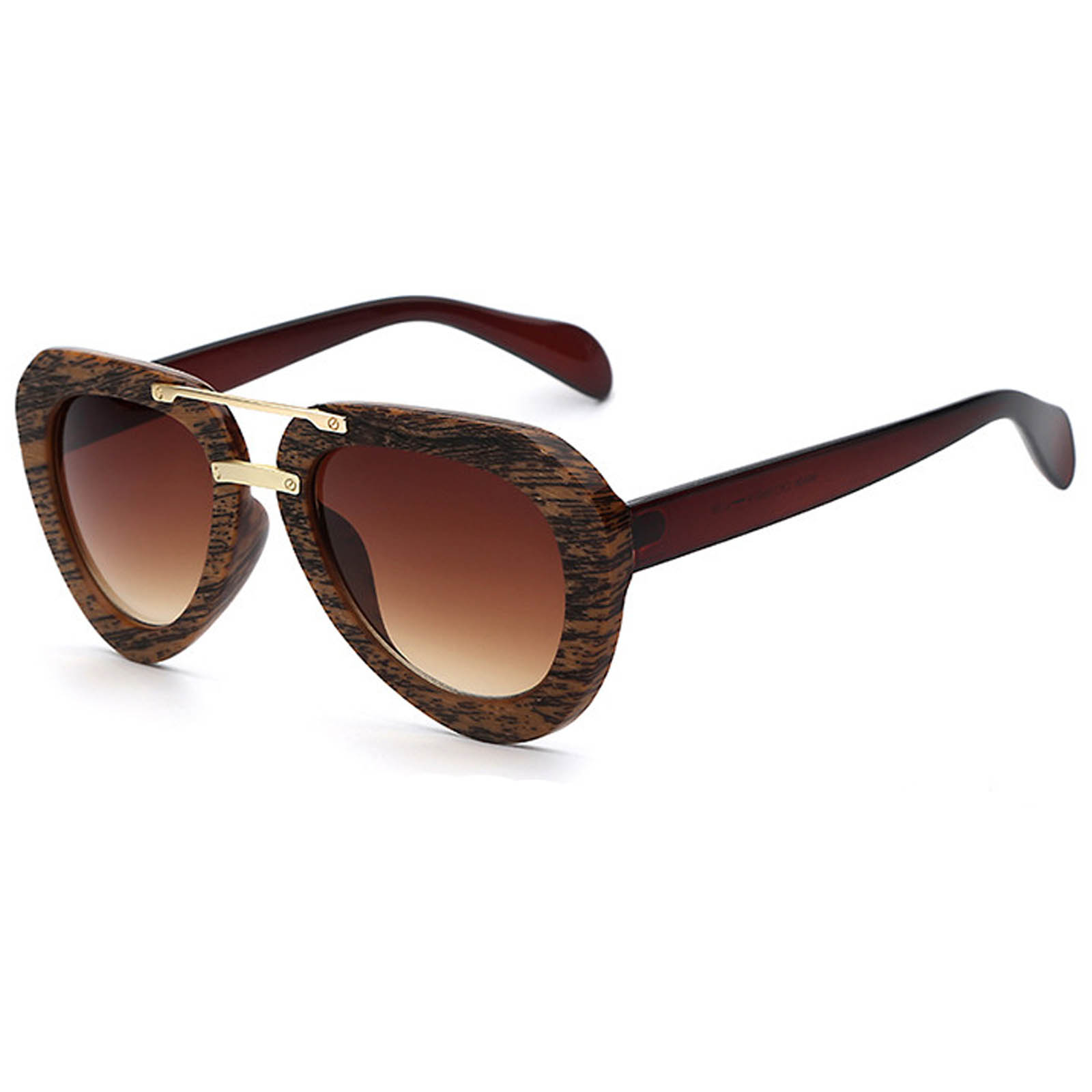 OWL ® 028 C6 Aviator Eyewear Sunglasses Women's Men's Plastic Brown Frame Brown Lens One Pair