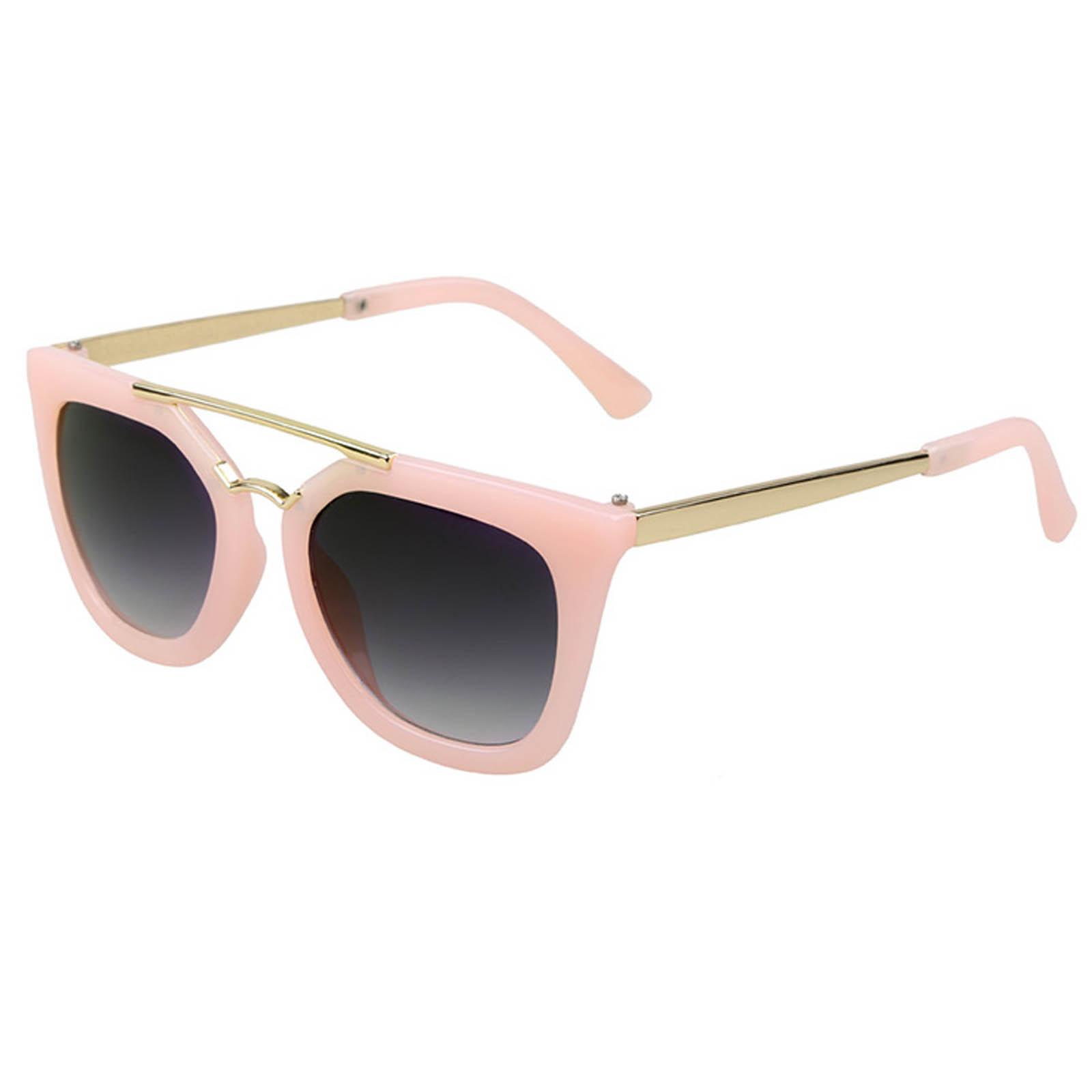 OWL ® 043 C4 Cat Round Eyewear Sunglasses Women's Men's Metal Nude Frame Smoke Lens One Pair