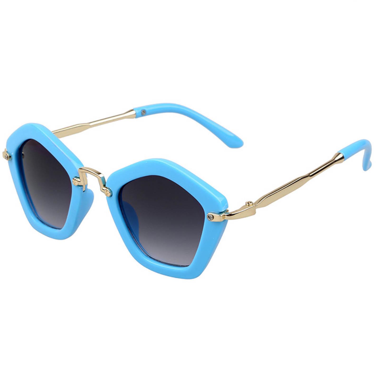 OWL ® 044 C4 Round Pentagon Eyewear Sunglasses Women's Men's Metal Blue Frame Smoke Lens One Pair