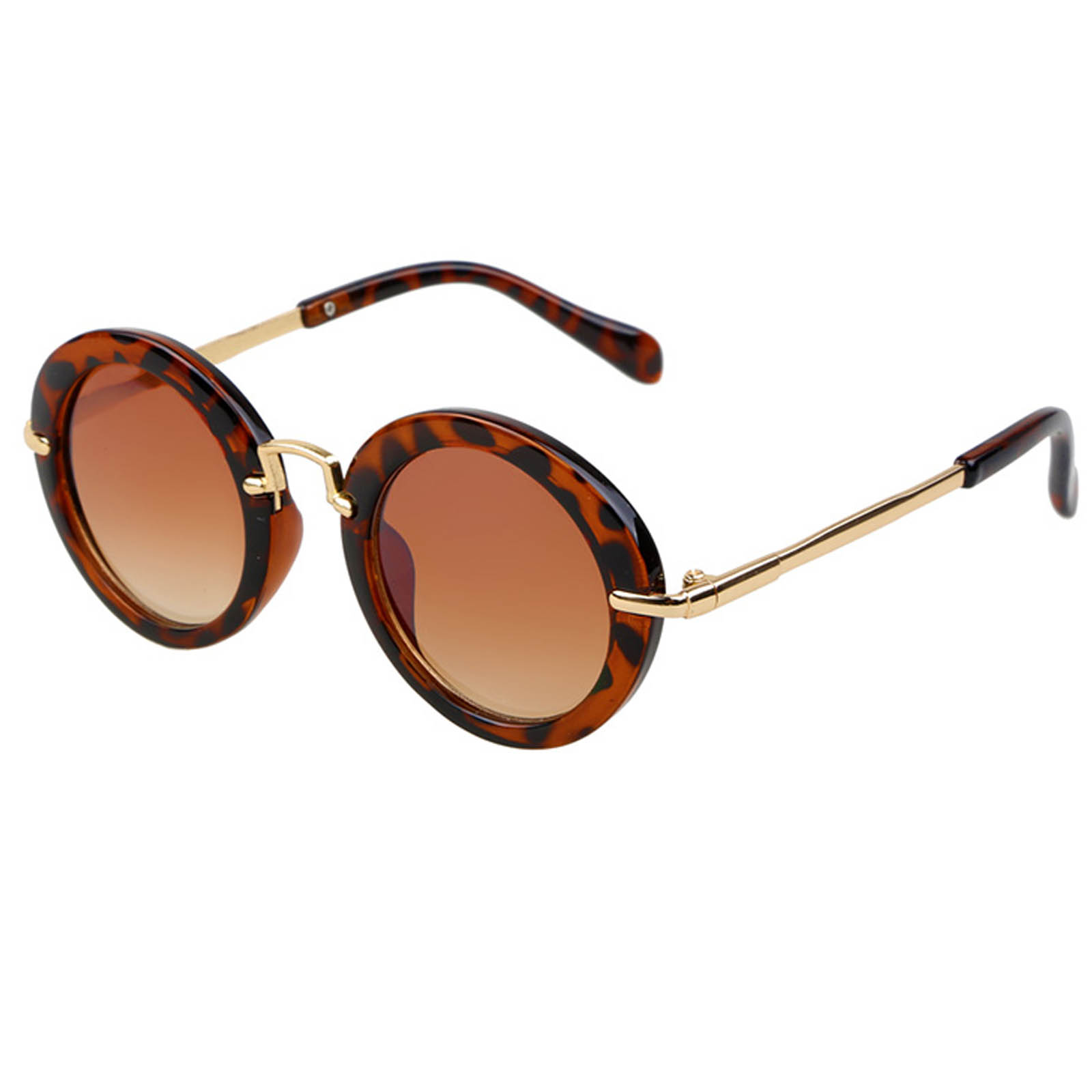 OWL ® 045 C1 Round Eyewear Sunglasses Women's Men's Metal Round Circle Leopard Frame Btown Lens One Pair