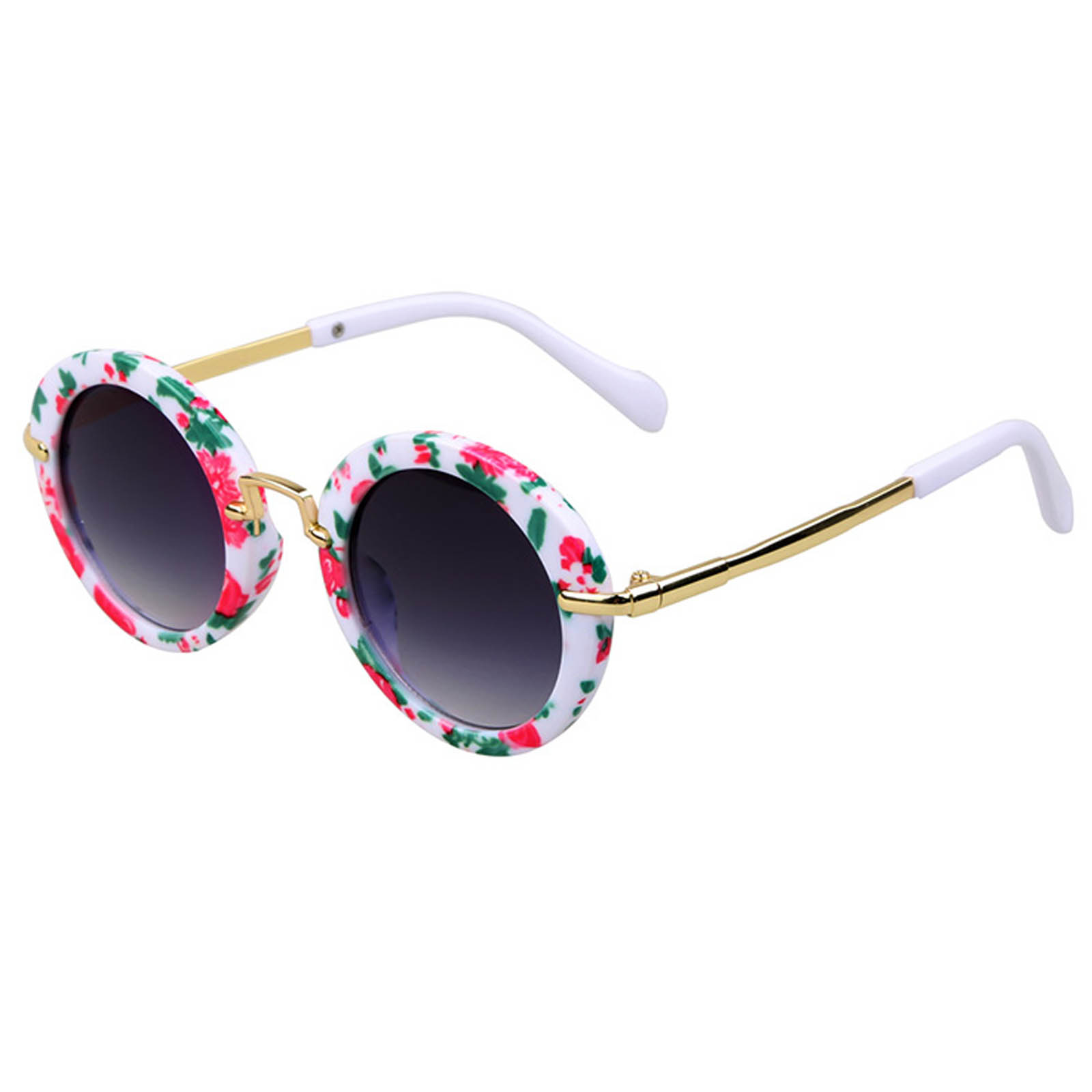 OWL ® 045 C3 Round Eyewear Sunglasses Women's Men's Metal Round Circle Flora Frame Smoke Lens One Pair