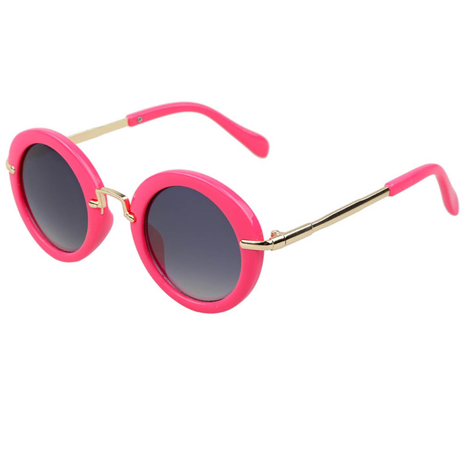 OWL ® 045 C3 Round Eyewear Sunglasses Women's Men's Metal Round Circle Hot Pink Frame Smoke Lens One Pair