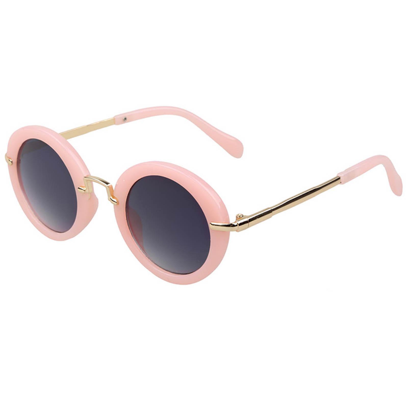 OWL ® 045 C5 Round Eyewear Sunglasses Women's Men's Metal Round Circle Nude Frame Smoke Lens One Pair