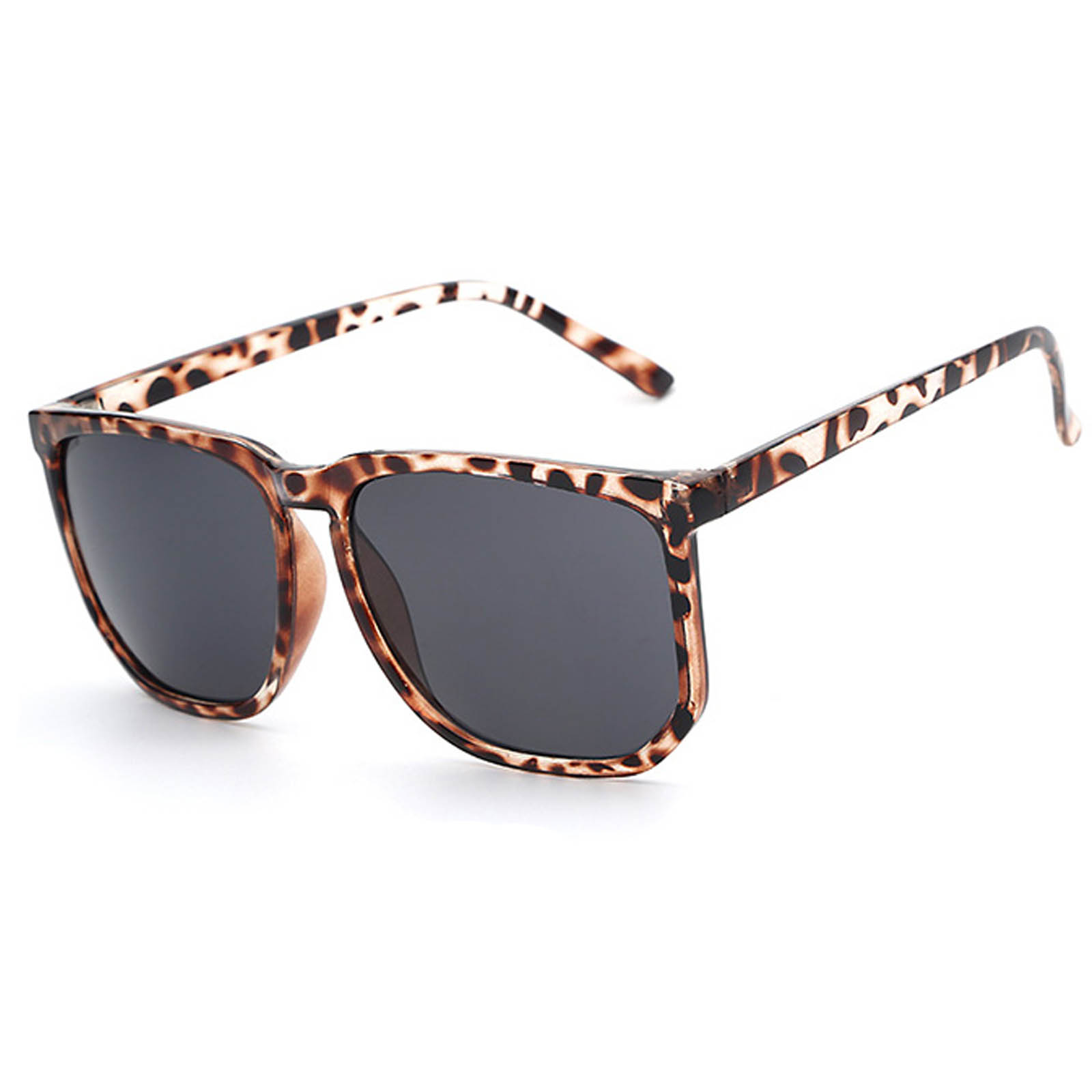 OWL ® 046 C2 Rectangle Eyewear Sunglasses Women's Men's Metal Leopard Frame Black Lens One Pair