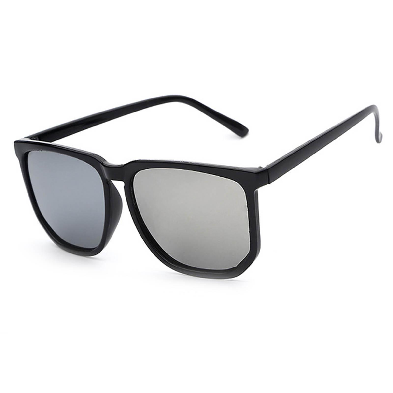 OWL ® 046 C4 Rectangle Eyewear Sunglasses Women's Men's Metal Black Frame Silver Lens One Pair