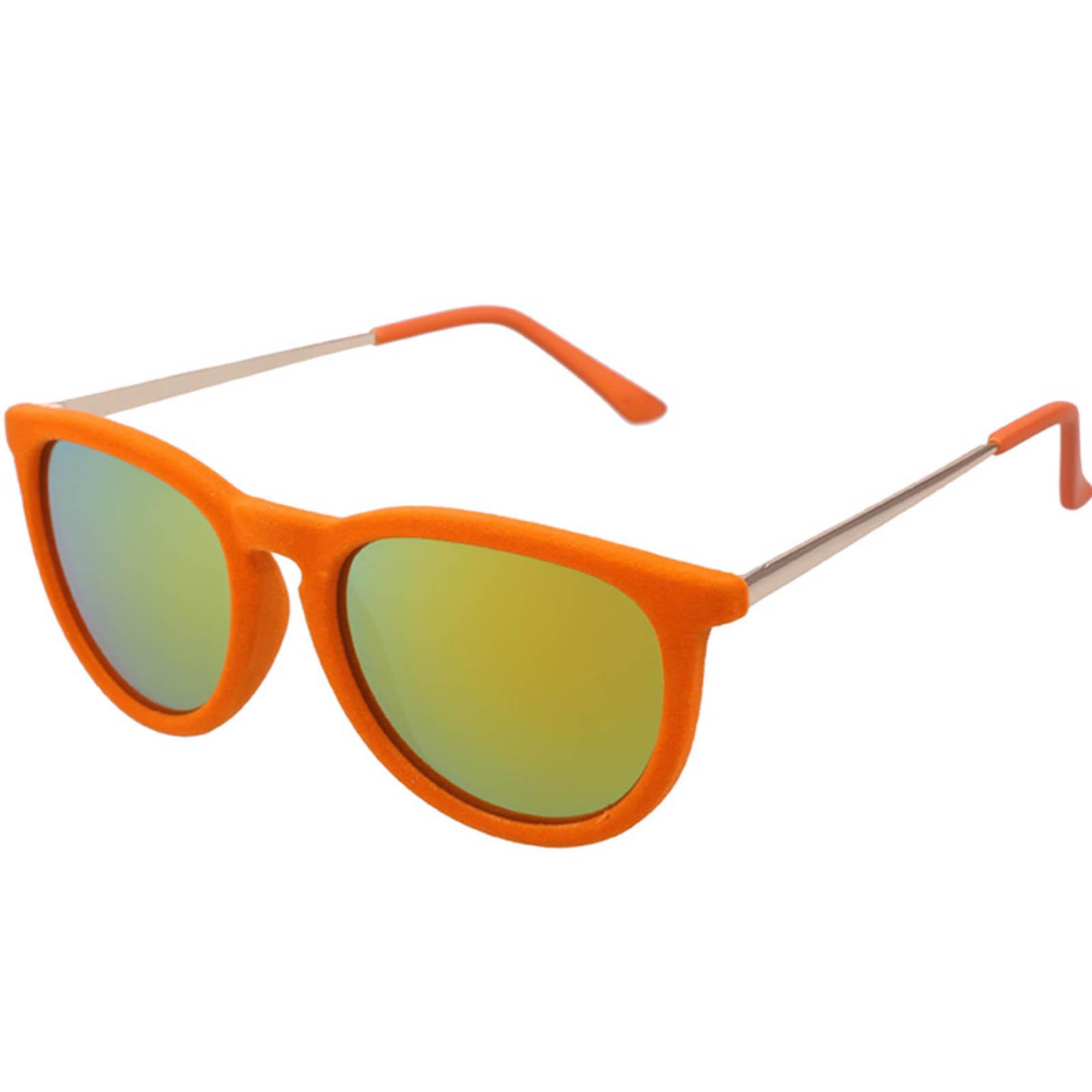 OWL ® 053 C5 Round Eyewear Sunglasses Women's Men's Plastic Round Circle Velvet Orange Frame Orange Mirror Lens One Pair