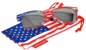 OWL ® Eyewear Retro Sunglasses American Clear Flag Frame Silver Mirror Lens (One Pair)