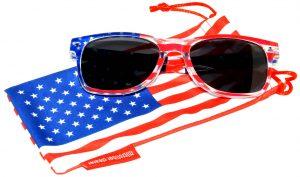 OWL ® Eyewear Retro Sunglasses American Clear Flag Frame Smoke Lens (One Pair)