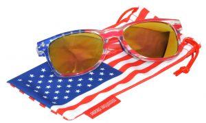 OWL ® Eyewear Retro Sunglasses American Clear Flag Frame Yellow Mirror Lens (One Pair)