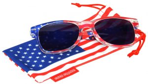 OWL ® Eyewear Retro Sunglasses American Clear Flag Frame Blue Mirror Lens (One Pair)