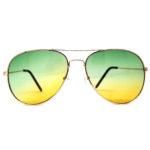 metal aviator tinted lens 2 colors green yellow