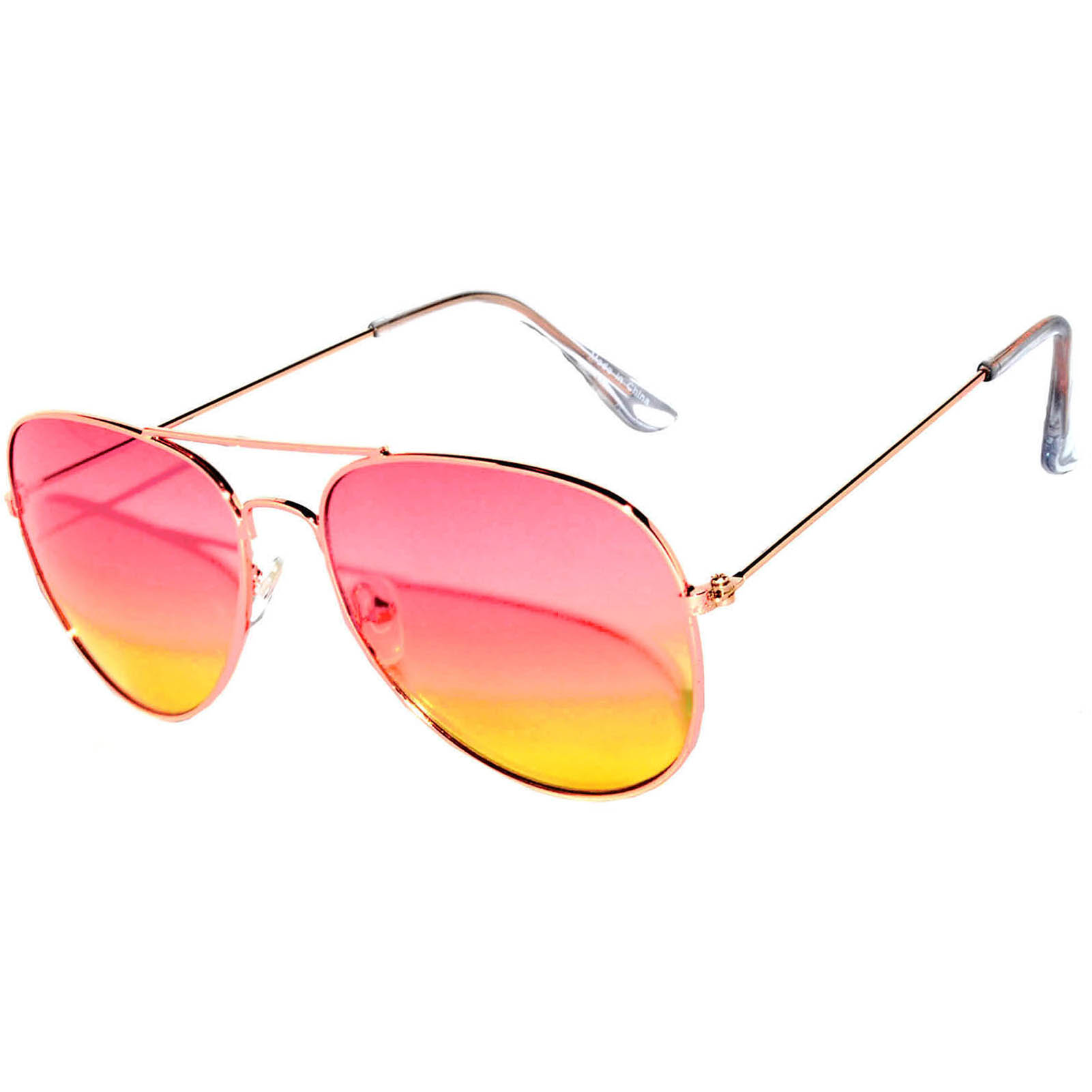 aviator 2 tone color lens pink-yellow
