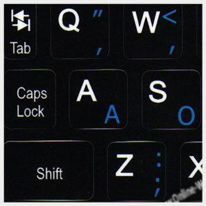 Dvorak key labels for Notebook Mini