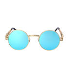 round steampunk sunglasses gold metal frame blue mirror lens