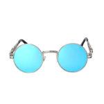round steampunk sunglasses silver metal frame blue mirror lens