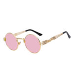 steampunk sunglasses gold rose pink mirror lens