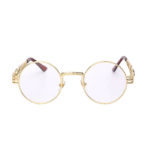 round steampunk sunglasses gold metal frame clear lens