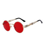 round steampunk sunglasses gold metal frame red lens