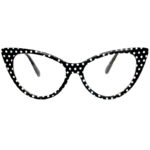 cat eye glasses clear lens black polka dots frame