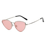 Vintage Small Cat Eye Pink Lens Sunglasses Silver Metal Frame