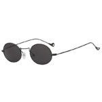 Fashion Vintage Oval Small Black Metal Frame Sunglasses Smoke Lens Shades
