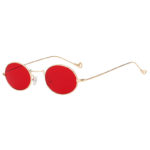 Retro Vintage Oval Small Gold Metal Frame Sunglasses Red Lens Shades