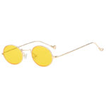 Stylish Vintage Oval Small Gold Metal Frame Sunglasses Yellow Lens Shades