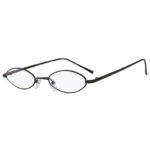 Oval Ultra Thin Small Slim Skinny Narrow Black Metal Glasses Clear Lens