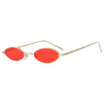 31036 Oval Ultra Thin Small Slim Skinny Narrow Gold Metal Sunglasses Red Lens UV400