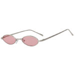Oval Ultra Thin Small Slim Skinny Narrow Silver Metal Glasses Pink Lens Shades