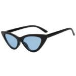 Vintage Cat Eye Narrow Slim Sunglasses Blue Lens Goggles Black Plastic Frame