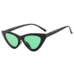 Retro Cat Eye Narrow Slim Sunglasses Green Lens Goggles Black Plastic Frame