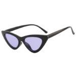 Retro Cat Eye Narrow Slim Sunglasses Purple Lens Goggles Black Plastic Frame