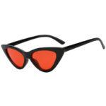 Vintage Cat Eye Narrow Slim Sunglasses Red Lens Goggles Black Plastic Frame